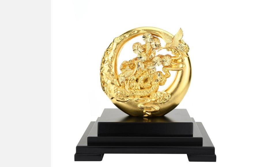 Quà tặng bản hiền - Vàng lá Thủ công mỹ nghệ Chúc phúc trường thọ Vàng 24K Lá vàng lá thông Bonsai Phong thủy Cầu phúc lộc -QLN25