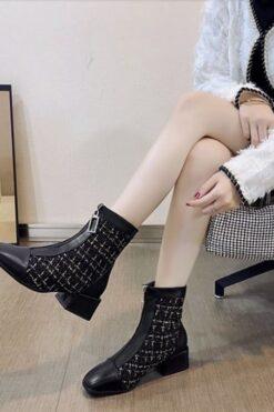 Giày Cao Gót, Thiết Kế Nữ Màu Be Đen Dày 7Cm, Cổ Chân Giày Ca Rô Phối Ren giày Boots - GN06