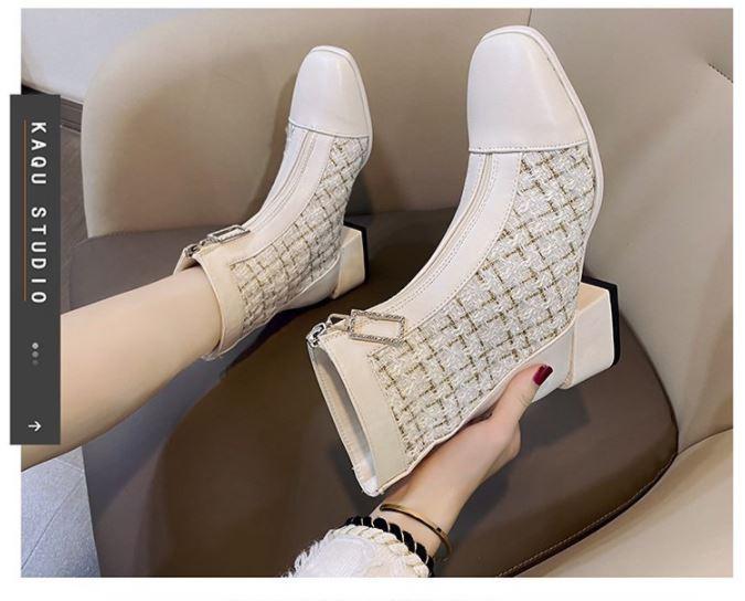 Giày Cao Gót, Thiết Kế Nữ Màu Be Đen Dày 7Cm, Cổ Chân Giày Ca Rô Phối Ren giày Boots - GN06A