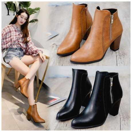 Giày boot Thời Trang Da PU Giày Cao Gót 8Cm Nữ Dây Kéo Bên Hông Giày Boot Cổ Ngắn Cho Nữ - GN08A