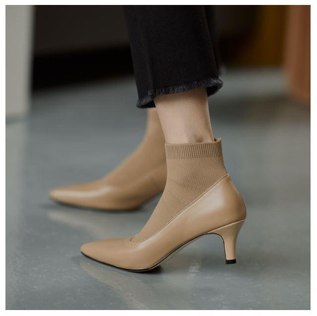 Giày cao gót giữa giày cao gót mỏng mùa xuân và mùa thu giày boot ngắn phù hợp - GN04C