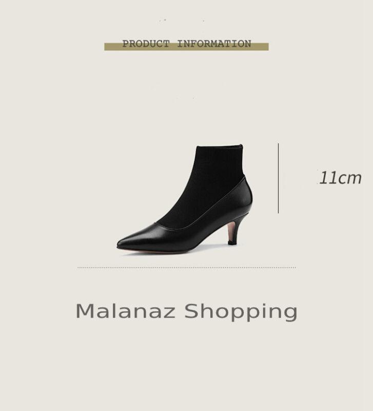 Giày cao gót giữa giày cao gót mỏng mùa xuân và mùa thu giày boot ngắn phù hợp - GN04K