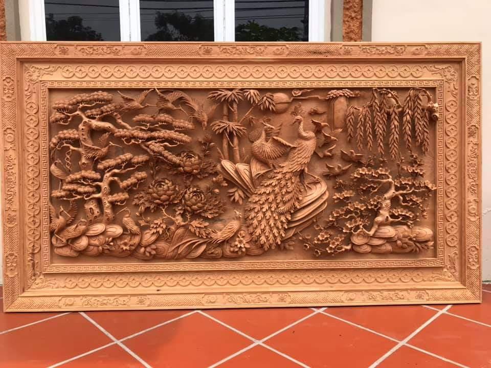 Tranh gỗ đục tay tranh gỗ - VIP - tranh gỗ phu thê viên mãn - kt 197x97x10cm - TG82