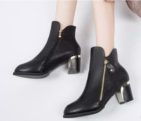 Women's Fashion Side Zipper Ankle Boots Autumn Winter Martin Boots Pointed High Quality Solid Ladies Shoes PU High Heels Boots - GN59A