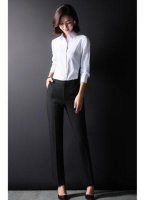 Quần tây âu nữ thời trang công sở vải tuyết mưa màu đen- ST01