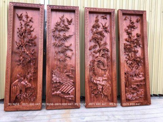 Tranhh gỗ Treo phòng khách - Tranh gỗ tứ quý - Tranh gỗ làng Đại Nghiệp - Tranh gỗ hương đá VIP - kt 145 x 58 x 7cm - TQ11
