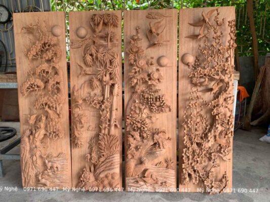 Tranhh gỗ Treo phòng khách - Tranh gỗ tứ quý - Tranh gỗ làng Đại Nghiệp - Tranh gỗ hương đá VIP - kt 145 x 58 x 7cm - TQ12