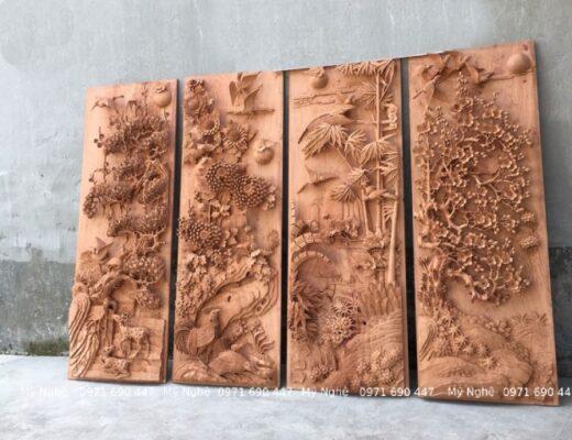 Tranhh gỗ Treo phòng khách - Tranh gỗ tứ quý - Tranh gỗ làng Đại Nghiệp - Tranh gỗ hương đá VIP - kt 145 x 58 x 7cm - TQ13