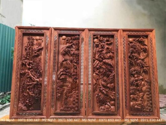 Tranhh gỗ Treo phòng khách - Tranh gỗ tứ quý - Tranh gỗ làng Đại Nghiệp - Tranh gỗ hương đá VIP - kt 145 x 58 x 7cm - TQ14