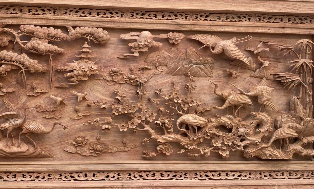 Báo giá tranh gỗ - tranh gỗ treo phòng khách - tranh tùng hạc gỗ hương đá kt 237x117x8 - TG9321 (3)