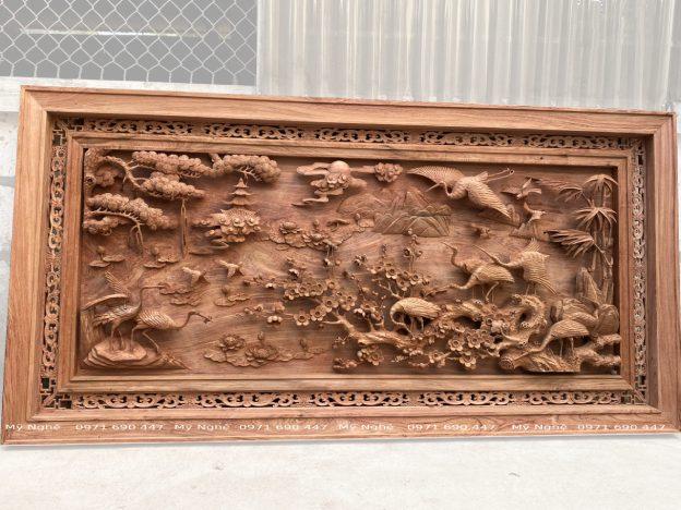 Báo giá tranh gỗ - tranh gỗ treo phòng khách - tranh tùng hạc gỗ hương đá kt 237x117x8 - TG9321 (6)