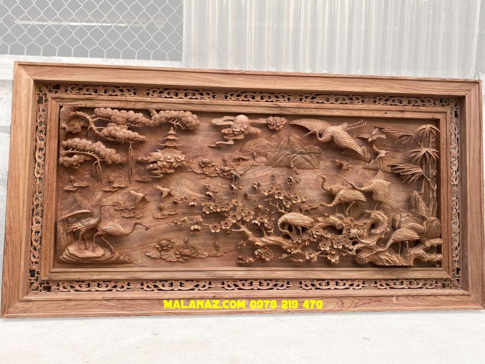 Báo giá tranh gỗ - tranh gỗ treo phòng khách - tranh tùng hạc gỗ hương đá kt 237x117x8 - TG9321