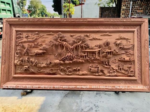 Tranh gỗ treo phòng khách - Tranh gỗ đồng quê gỗ hương đá kt 237x117x8 - DQ01