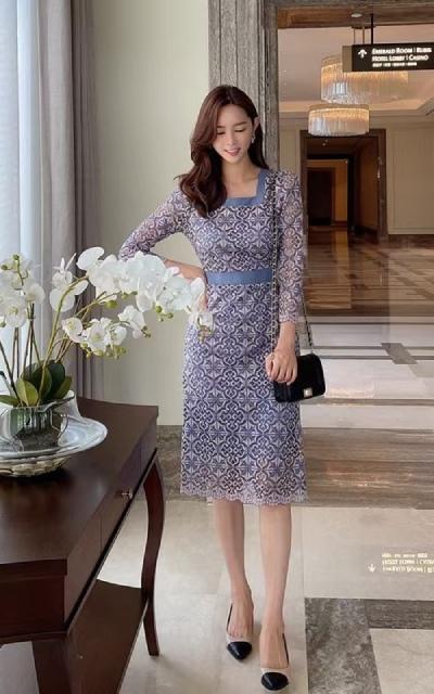 Đầm Hàn Quốc cổ vuông - HQ01-GD