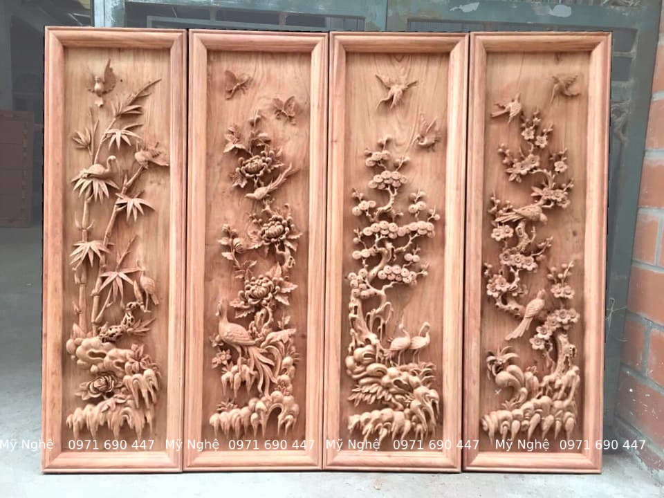 Tranh gỗ tứ quý - Tranh gỗ làng Đại Nghiệp - Tranh gỗ hương đá VIP - kt 145 x 58 x 7cm - TQ08