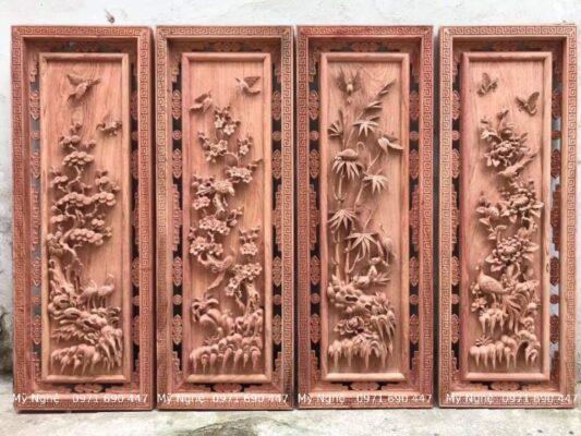 Mua Tranh gỗ tứ quý -Tranh gỗ TPHCM gỗ hương đá- kt 145 x 58 x 7cm - TQ05