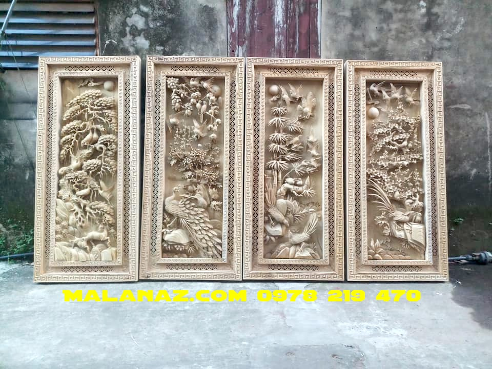 Tranh gỗ tứ quý gỗ hương đá VIP - kt 145 x 58 x 7cm - TQ07