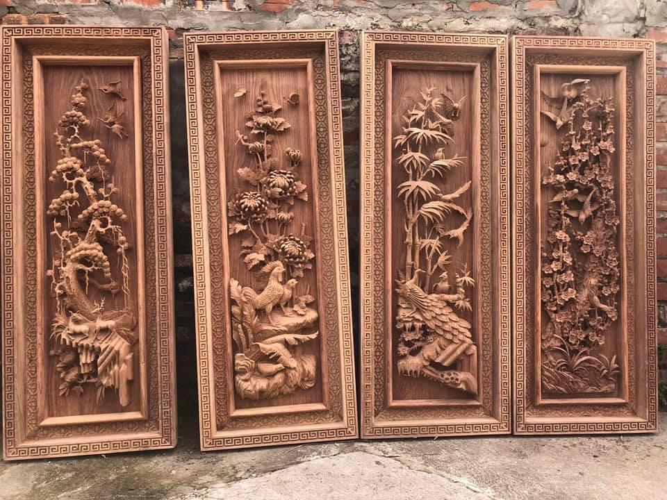Tranh gỗ tứ quý - Tranh gỗ đục tay - Tranh gỗ thủ công Mỹ Nghệ - TQ01