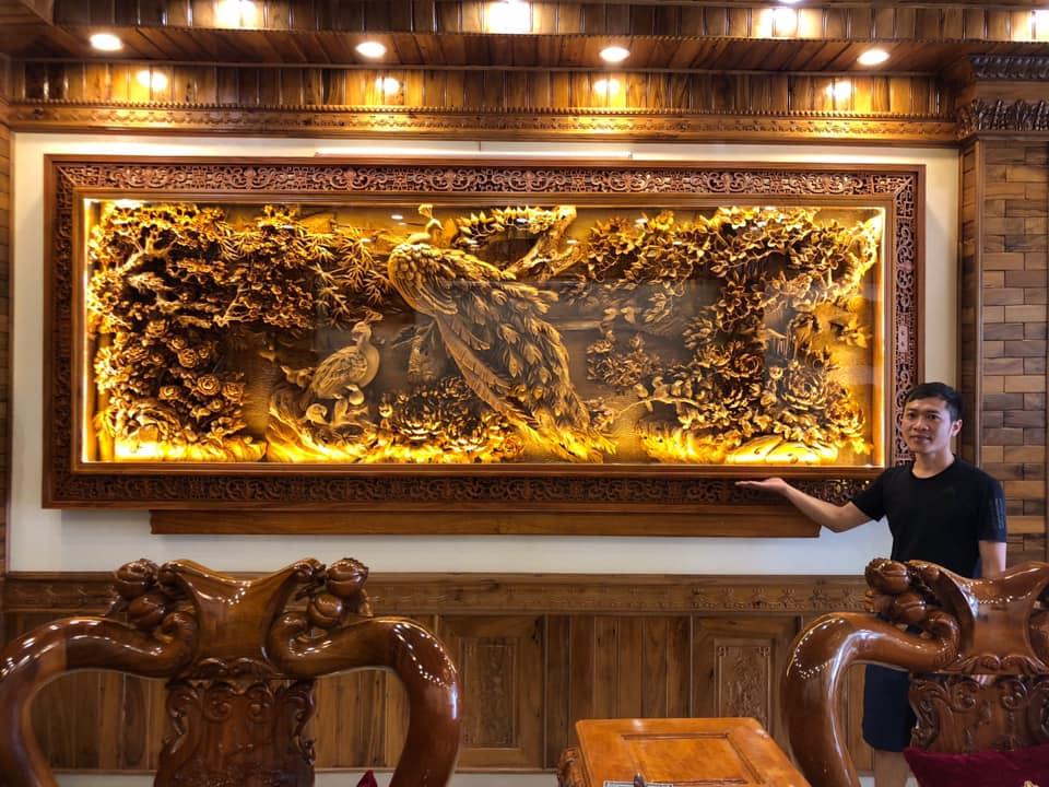 Tranh gỗ Trúc Điểu Triều Phụng - Lòng Tranh Gỗ Nhân Tạo Tạo - Khung Gỗ Hương - NT01