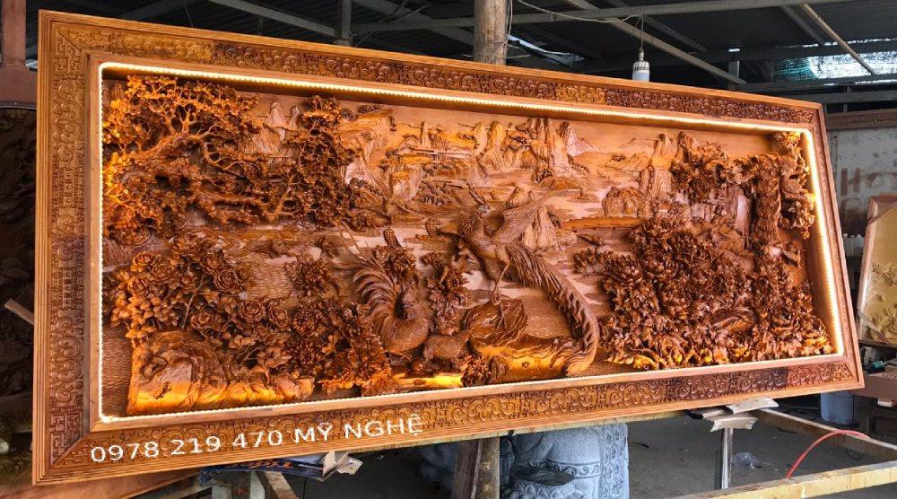 TranhGỗ Bách Điểu Triều Phụng - tranh gỗ trang trí phòng khách đẹp (1)